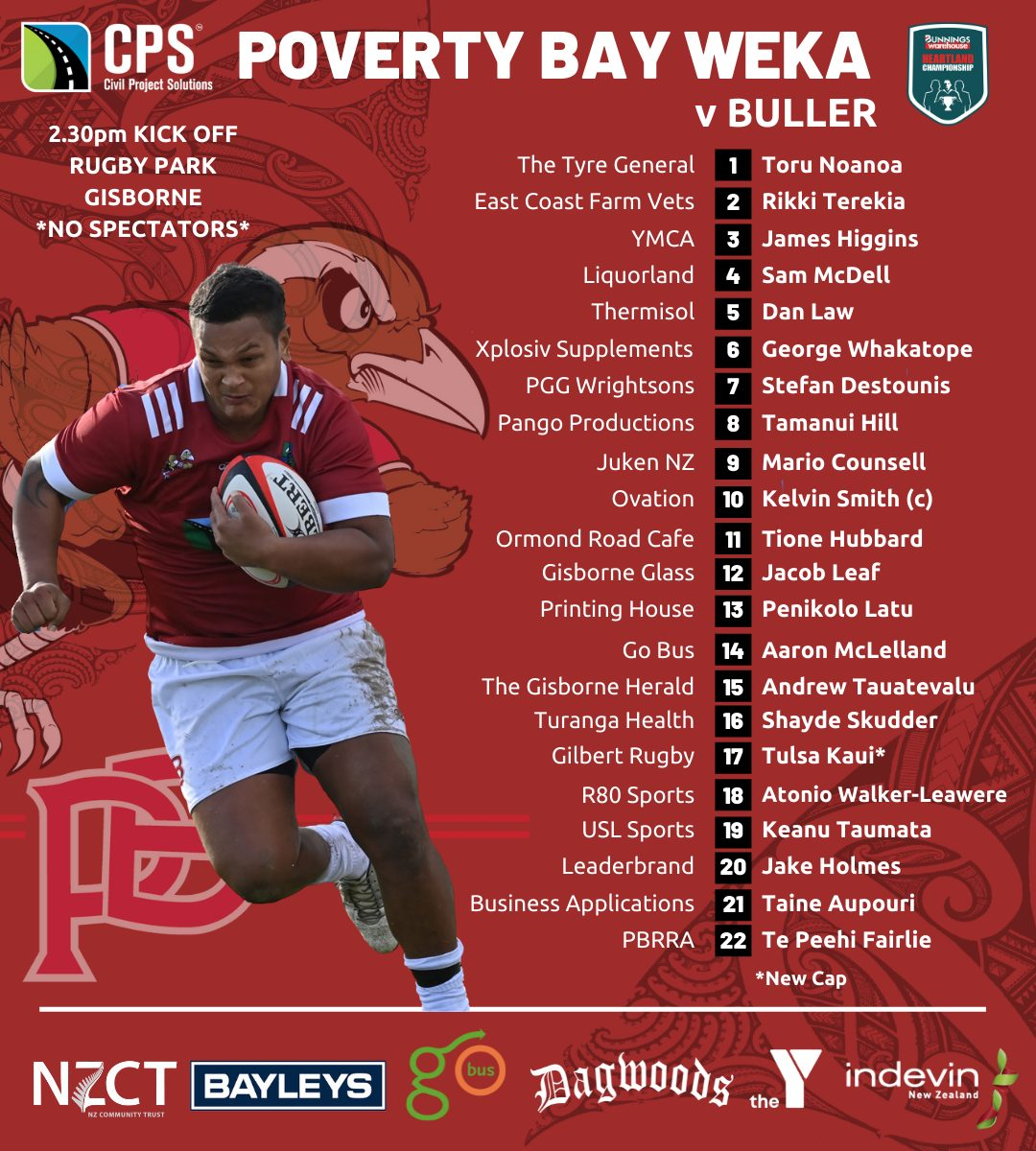 CPS Poverty Bay team named for Buller clash