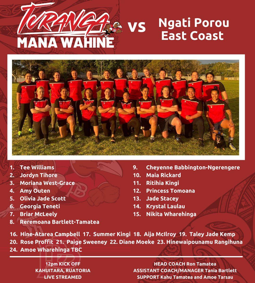 Turanga mana wahine team to play NPEC